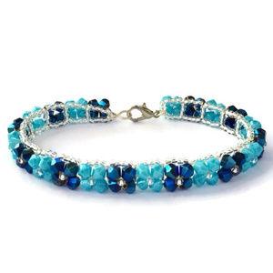 Jewelry - Handmade Glitter Aqua & Metallic Blue Bracelet